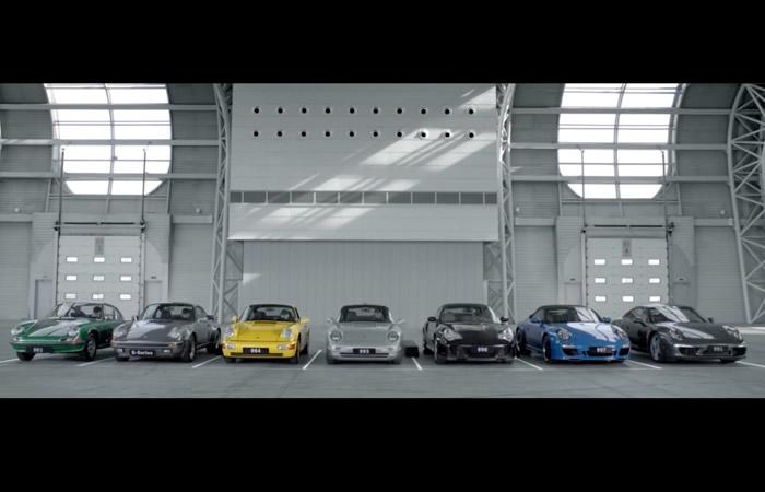 Video  : Creando una sinfonía con 7 Porsches 911, ¡ increíble !