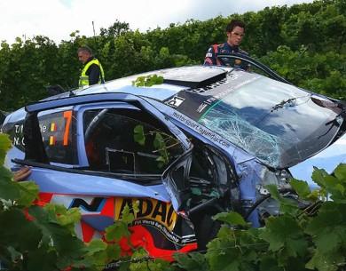 Espectacular accidente en el shakedown del WRC Alemania