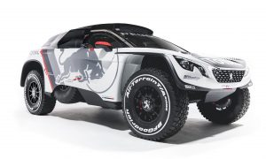 The new Peugeot 3008 DKR from the Team Peugeot Total during a studio photoshoot at Paris, France on August 7, 2016.